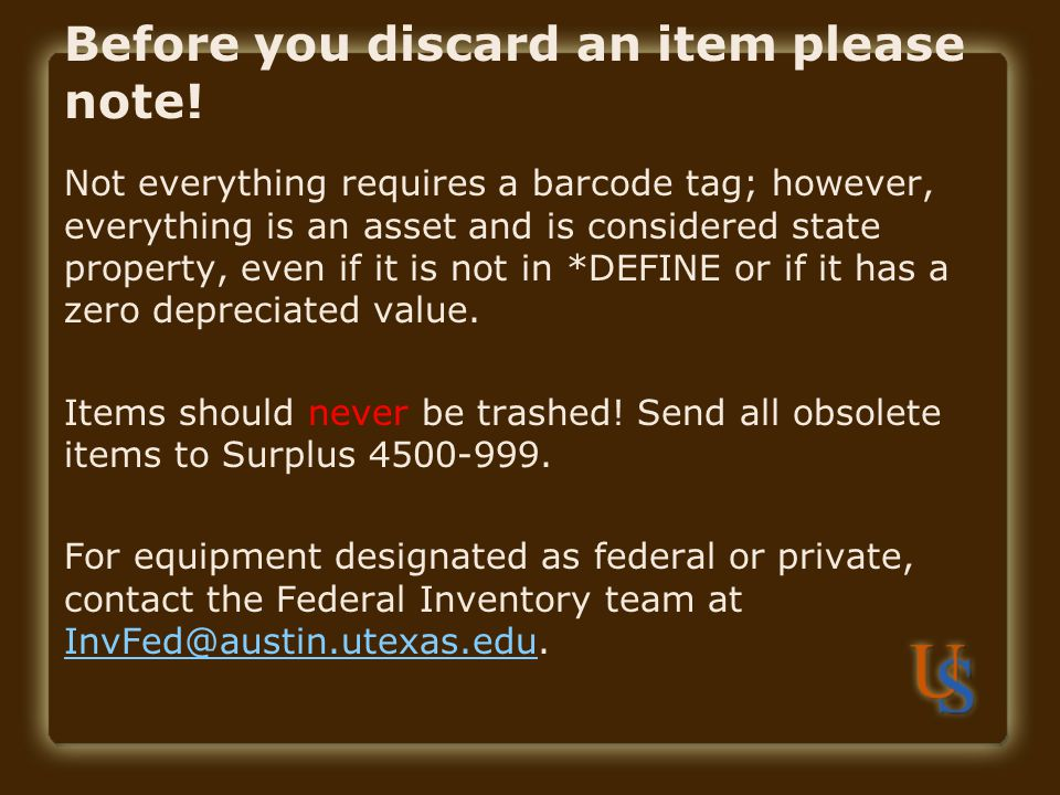 Before you discard an item please note!
