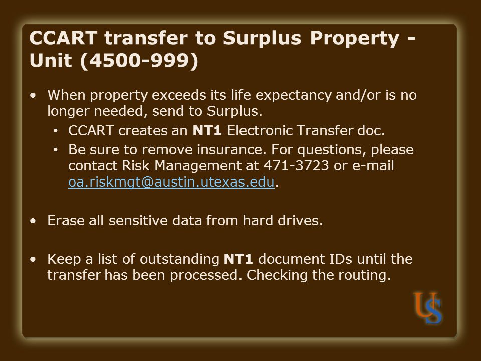 CCART transfer to Surplus Property - Unit (4500-999)