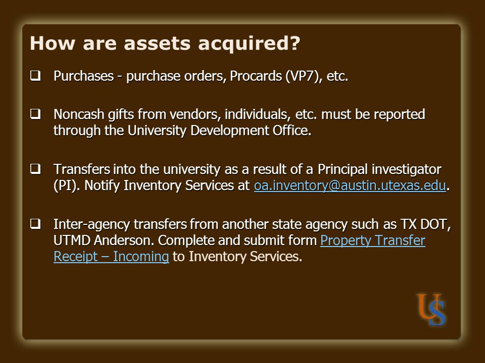 How are assets acquired