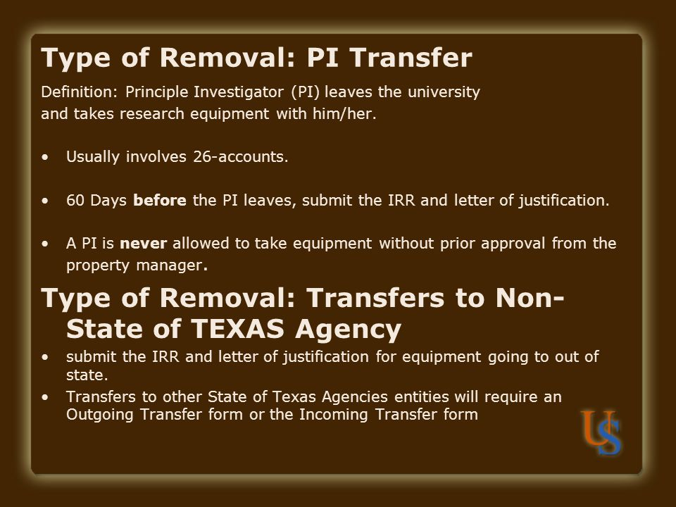Type of Removal: PI Transfer