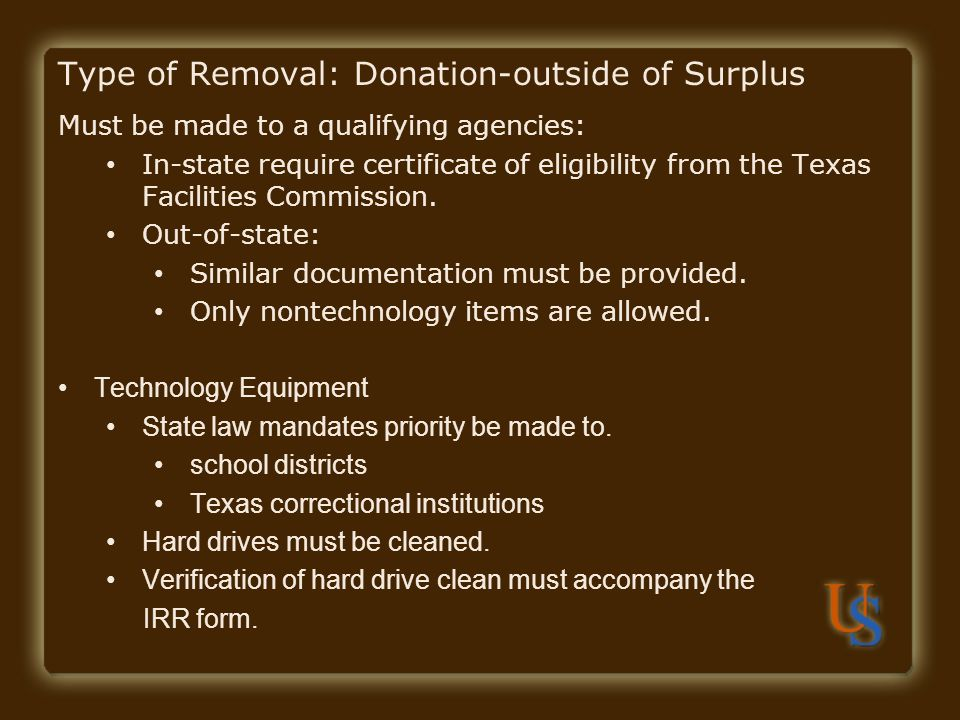 Type of Removal: Donation-outside of Surplus