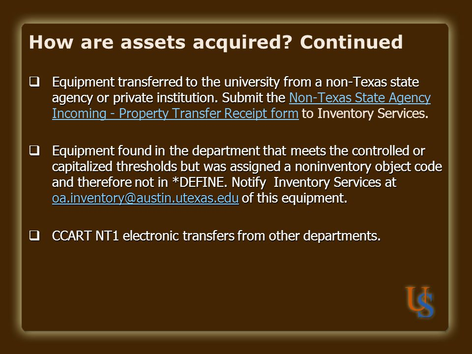 How are assets acquired Continued