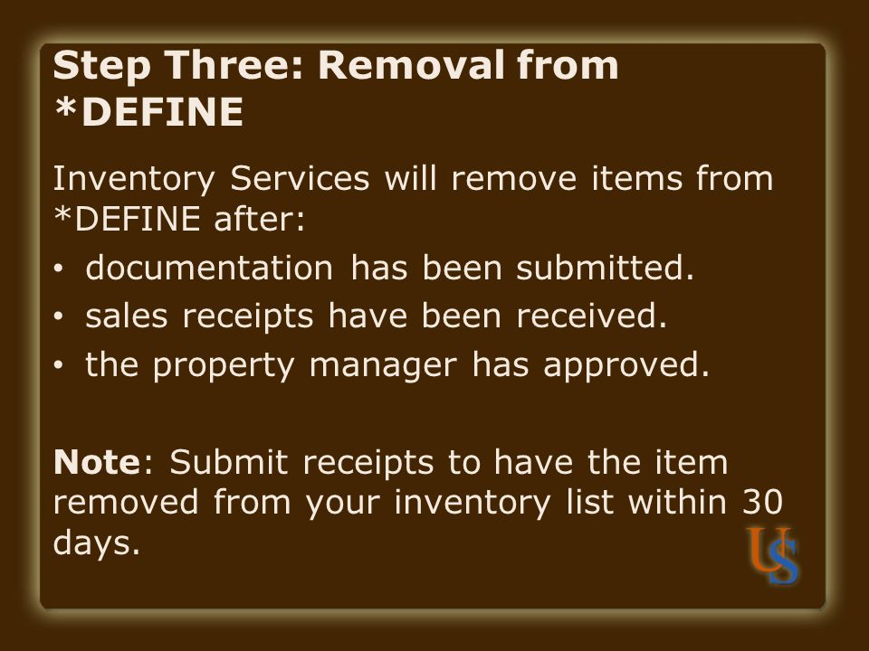 Step Three: Removal from *DEFINE