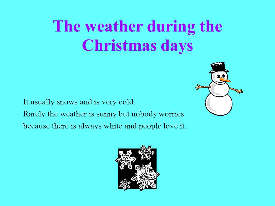 The weather during the Christmas days