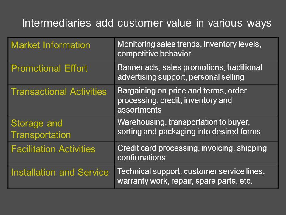 Intermediaries add customer value in various ways
