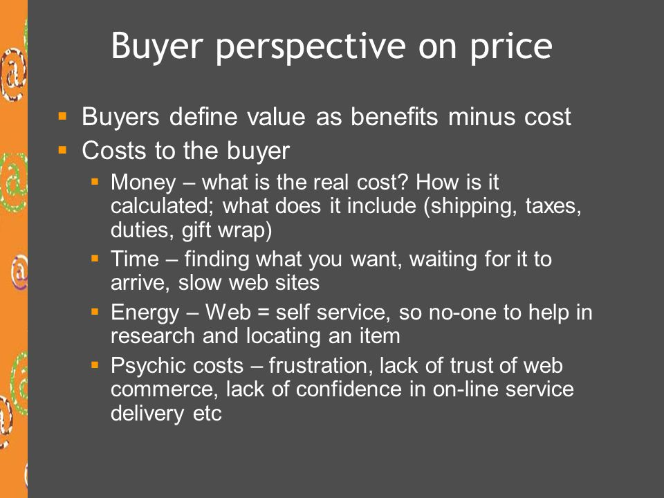 Buyer perspective on price