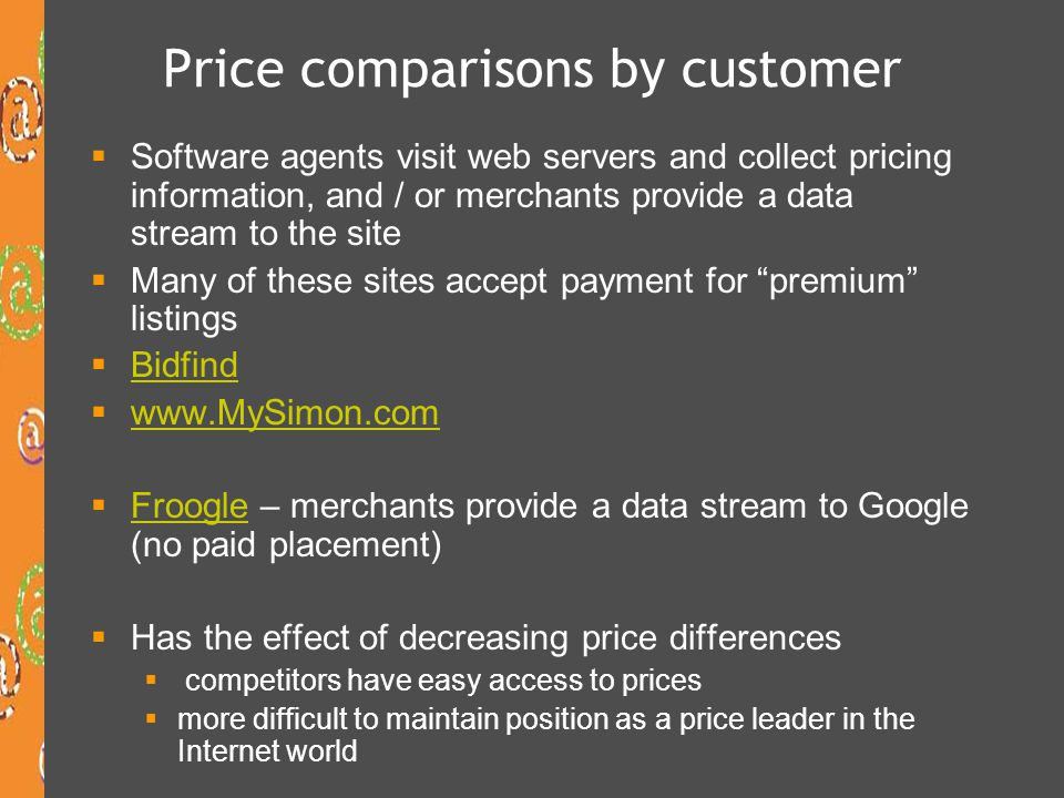 Price comparisons by customer