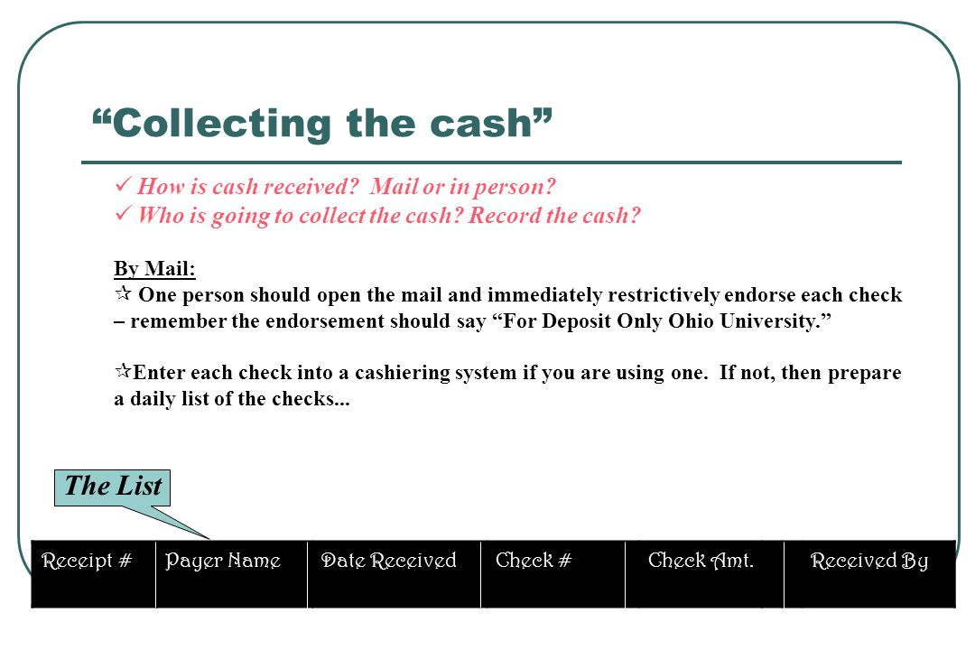 Collecting the cash The List