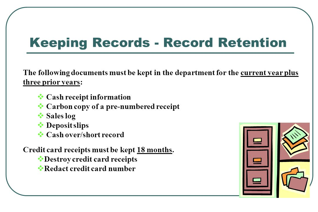 Cash handling training ppt video online download keeping records record retention reheart Gallery