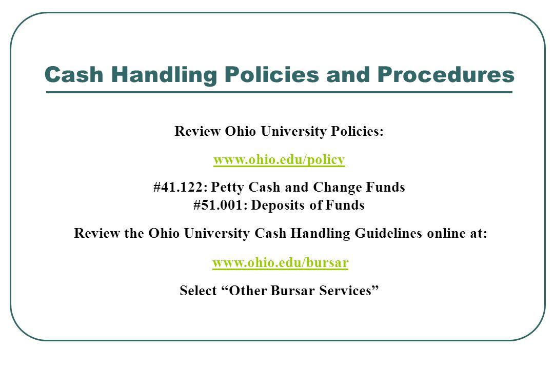 Cash Handling Policies and Procedures