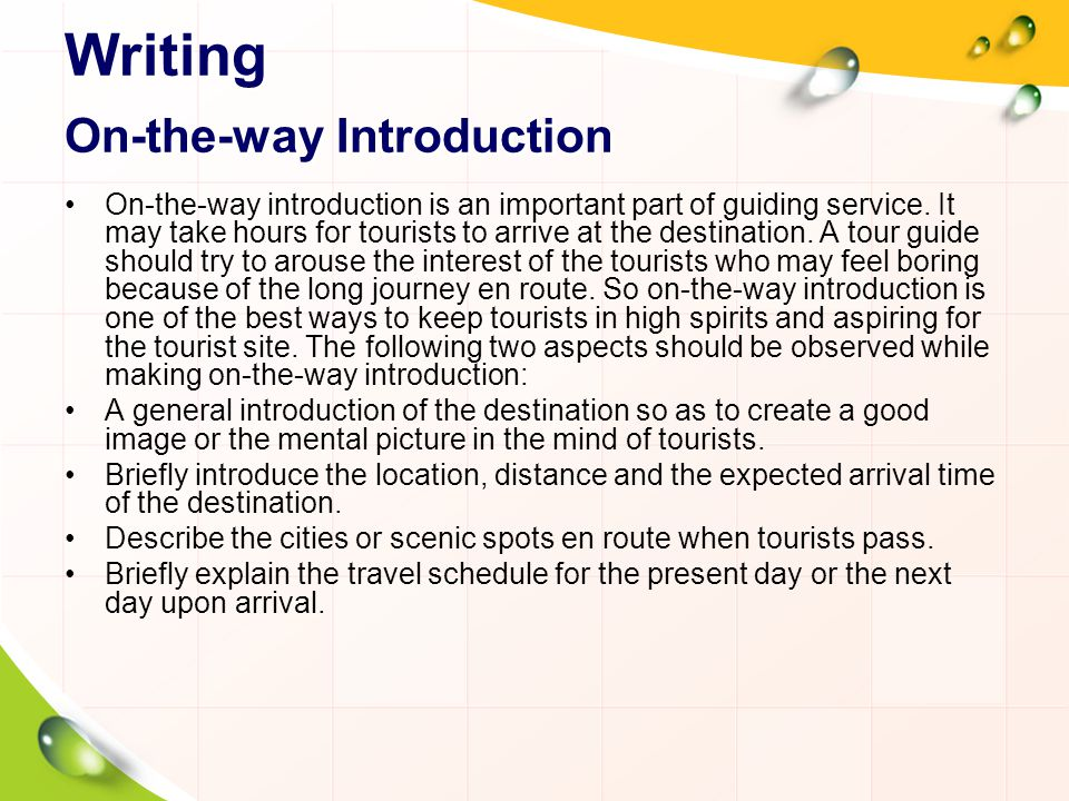 Writing On-the-way Introduction