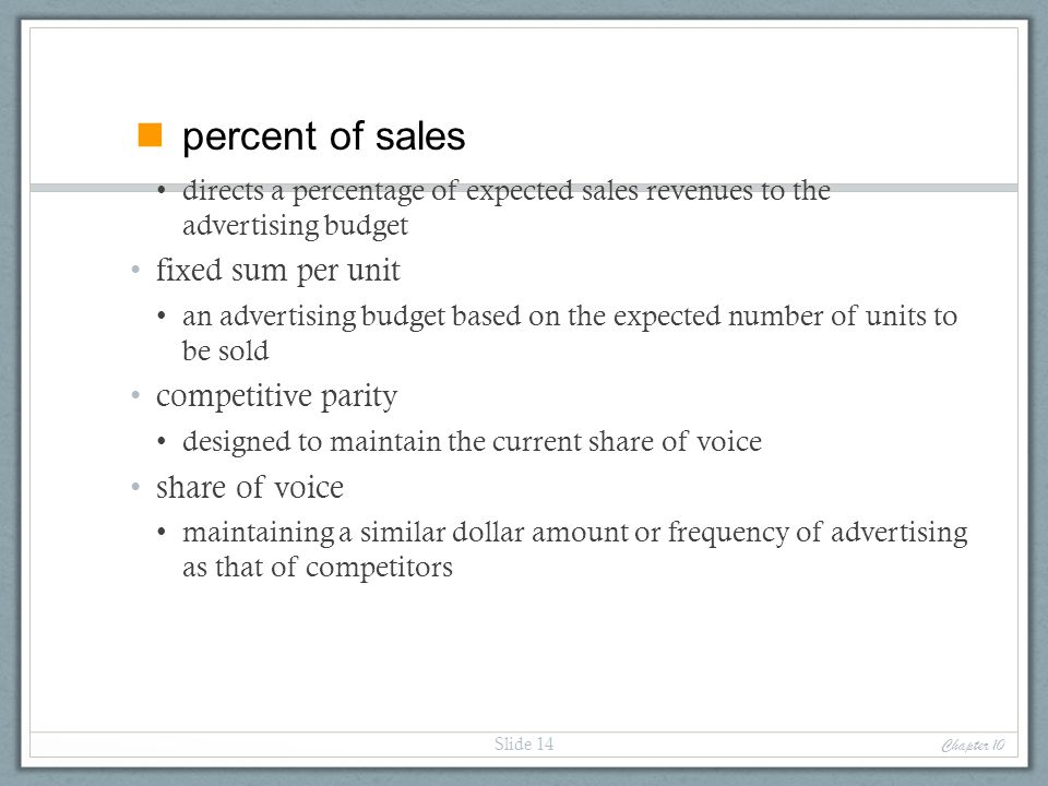 percent of sales fixed sum per unit competitive parity share of voice