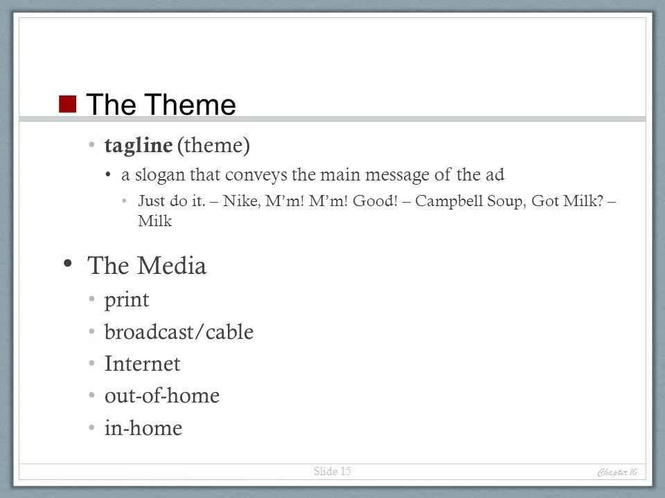 The Theme The Media tagline (theme) print broadcast/cable Internet