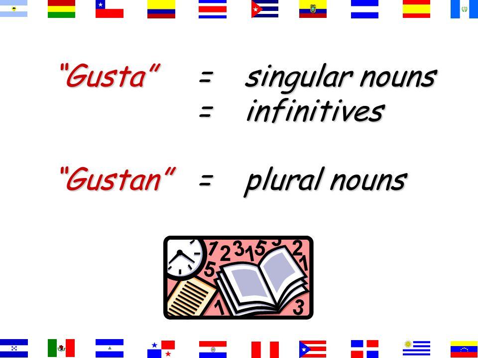 Gusta = singular nouns = infinitives