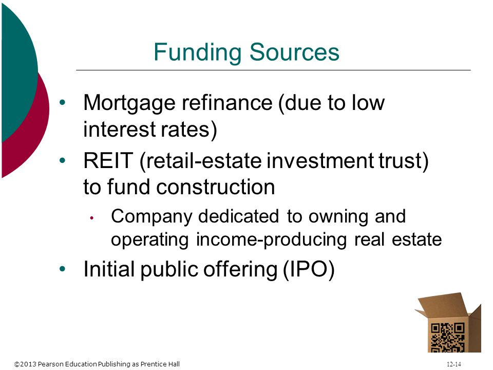 Funding Sources Mortgage refinance (due to low interest rates)