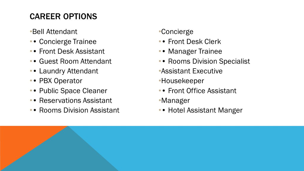 Career options Bell Attendant • Concierge Trainee