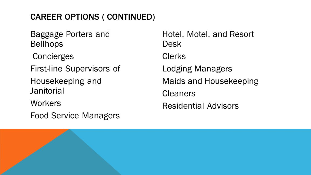 Career Options ( continued)