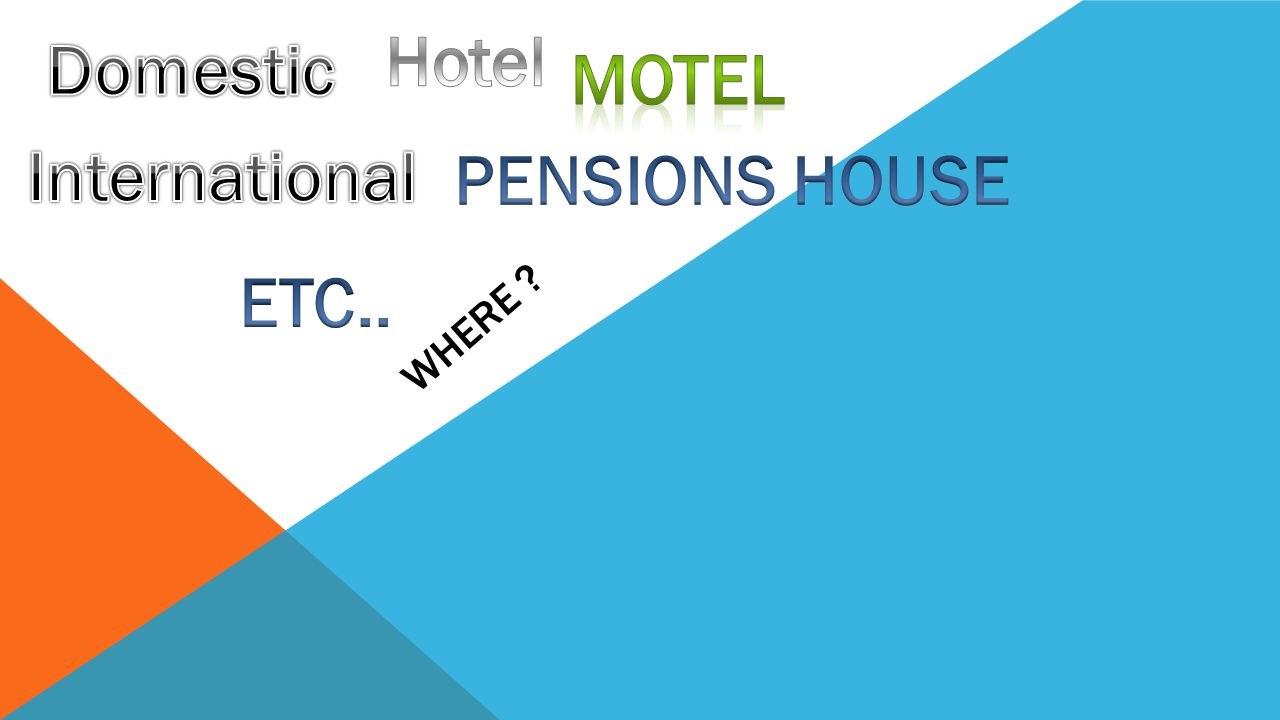 Hotel Domestic mOTEL International PENSIONS HOUSE ETC..