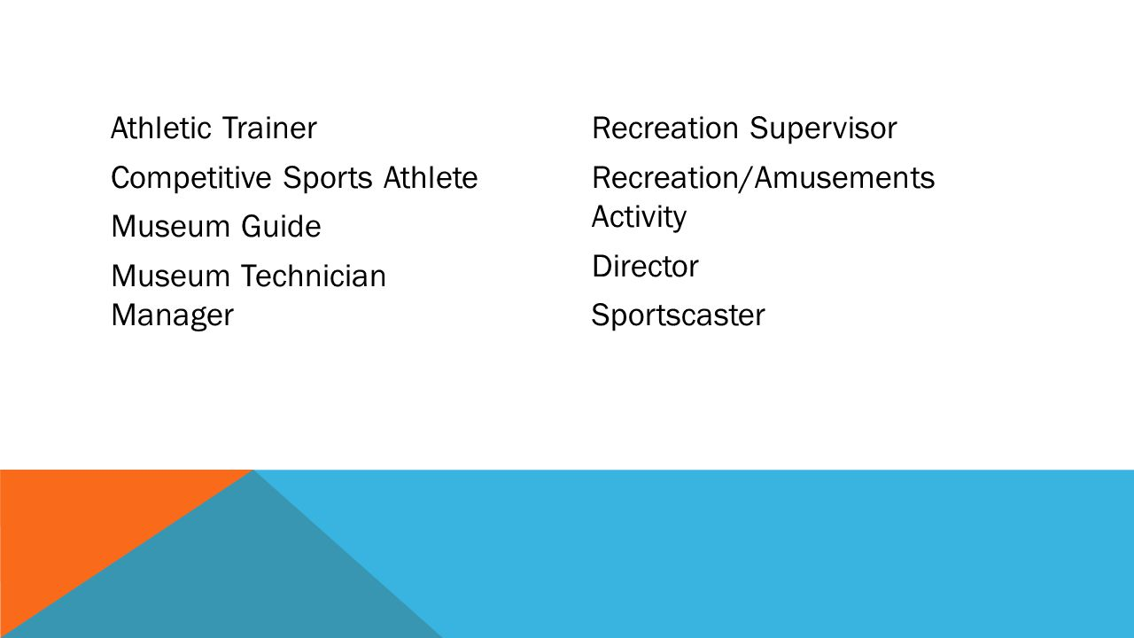Athletic Trainer Competitive Sports Athlete Museum Guide Museum Technician Manager