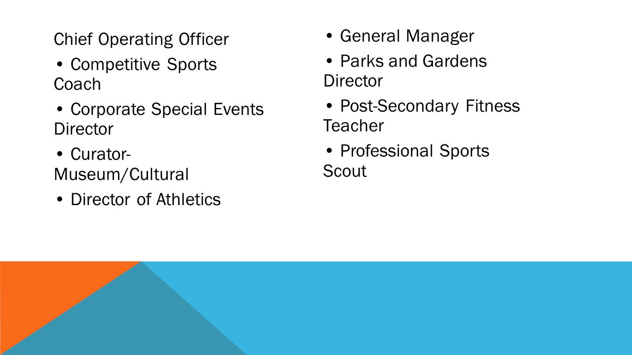 • General Manager • Parks and Gardens Director • Post-Secondary Fitness Teacher • Professional Sports Scout