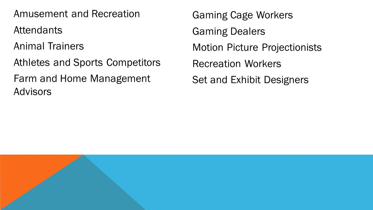 Amusement and Recreation Attendants Animal Trainers Athletes and Sports Competitors Farm and Home Management Advisors