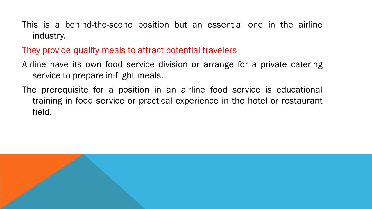 This is a behind-the-scene position but an essential one in the airline industry.