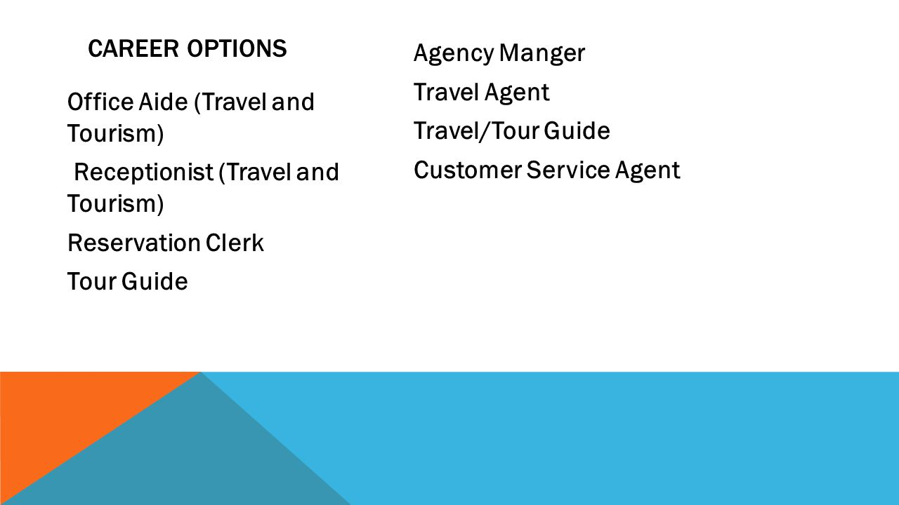 Career Options Agency Manger Travel Agent Travel/Tour Guide Customer Service Agent