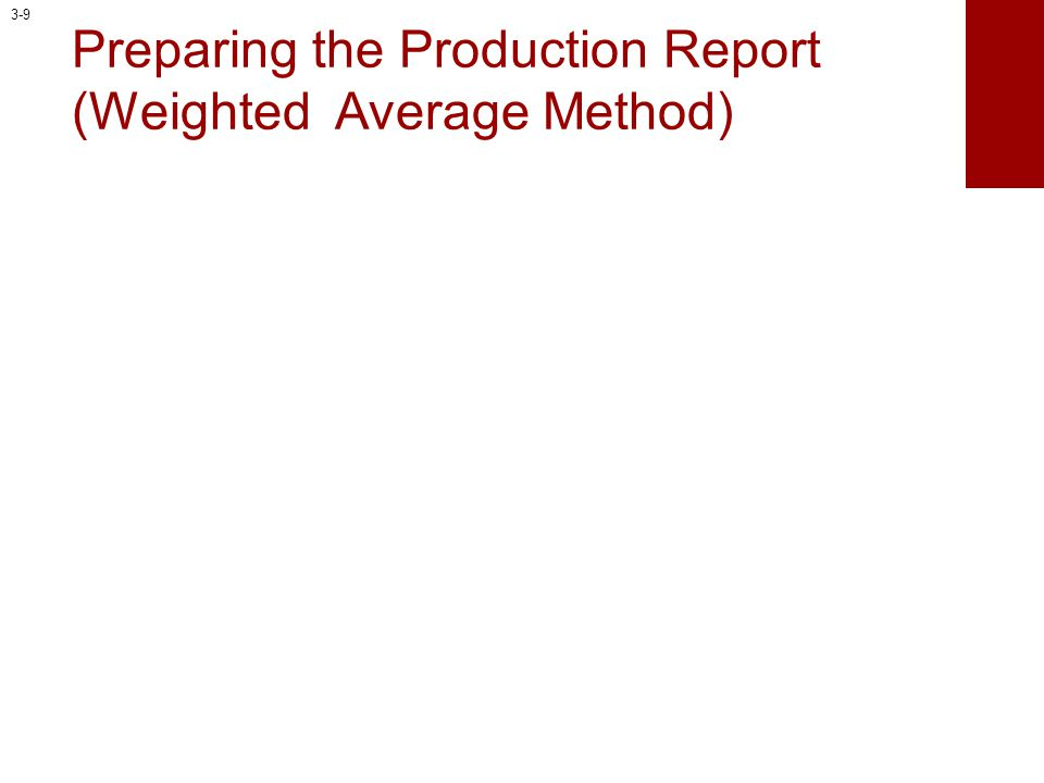 Preparing the Production Report (Weighted Average Method)