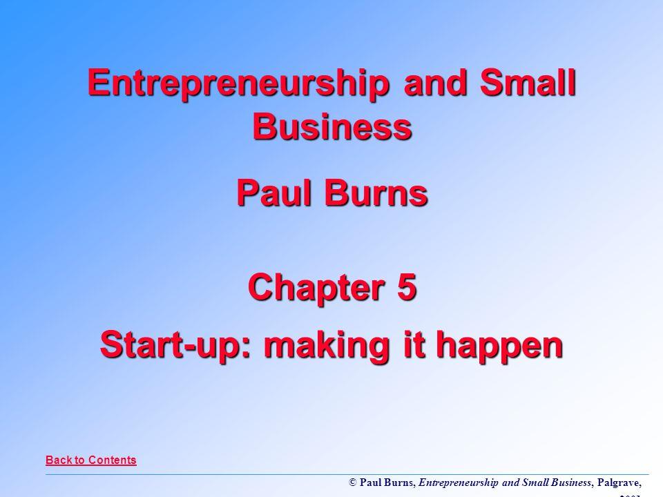 Paul Burns, Entrepreneurship and Small Business, Palgrave, 2001