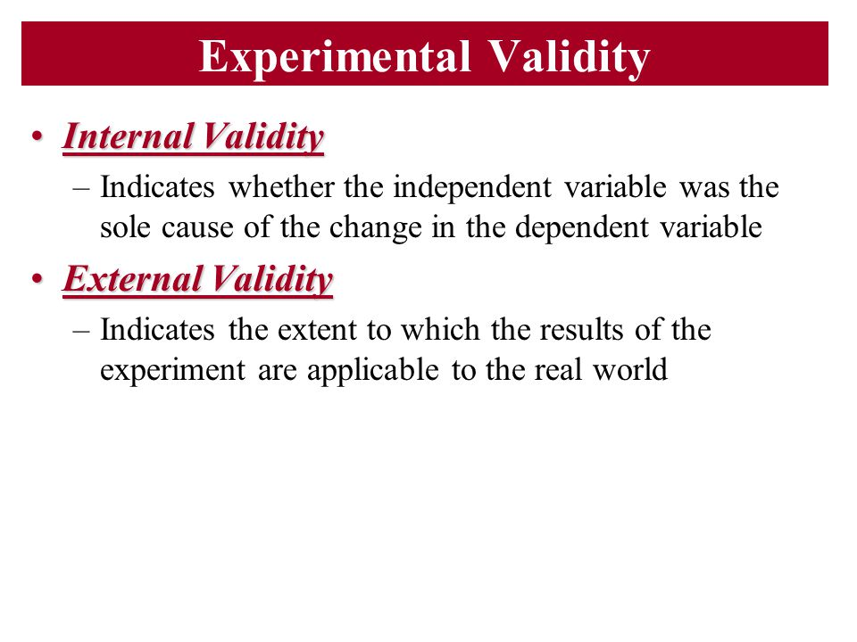 Experimental Validity