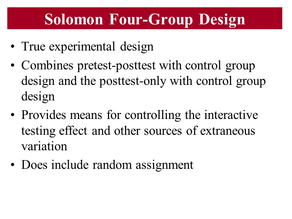 Solomon Four-Group Design