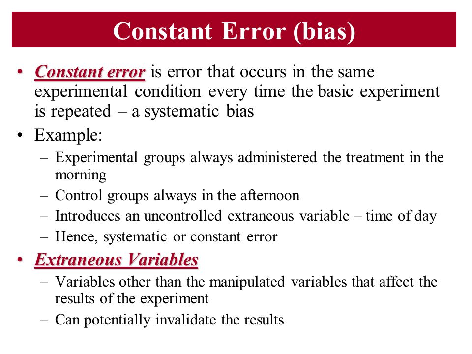 Constant Error (bias)