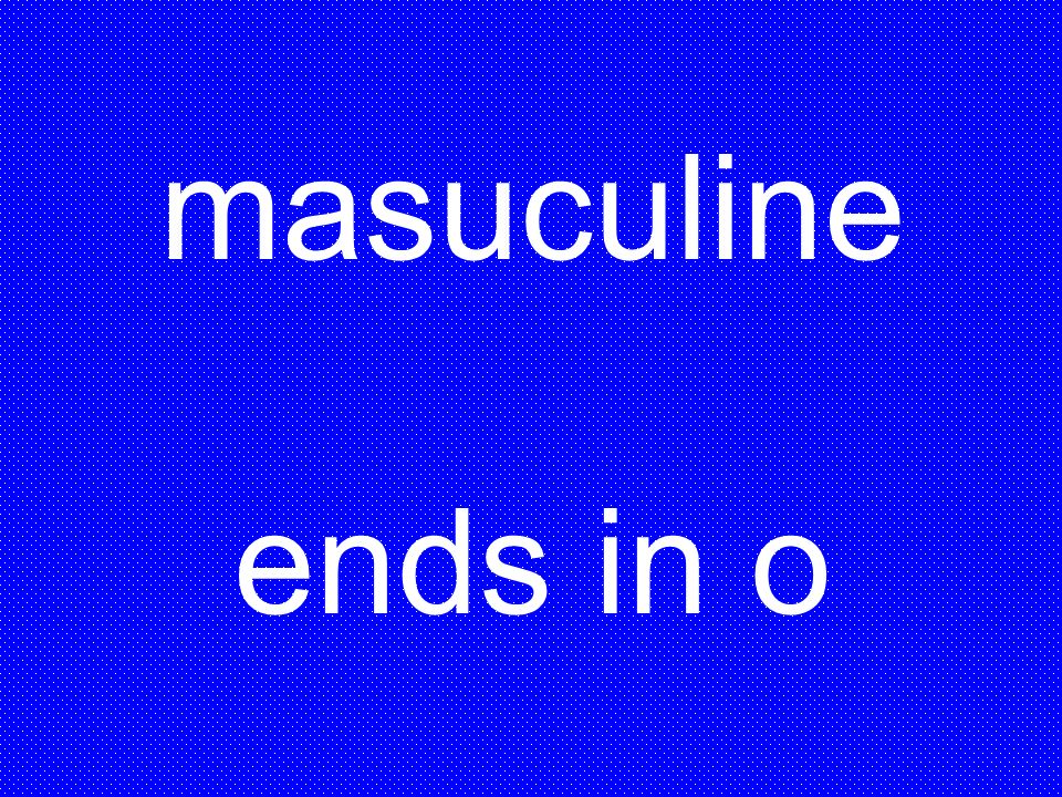 masuculine ends in o