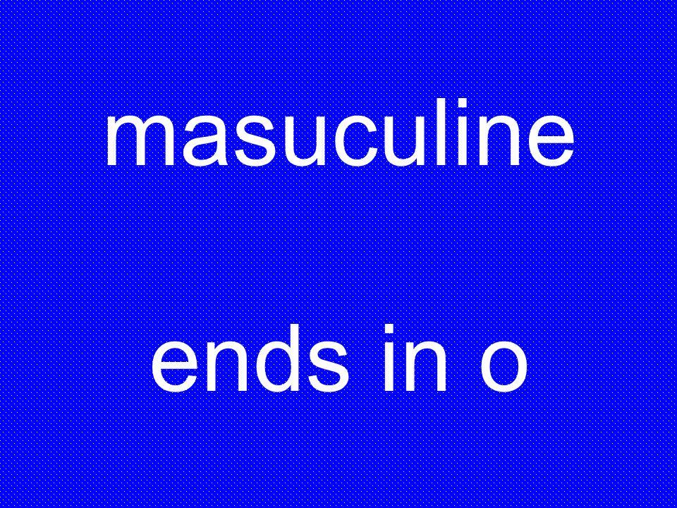 masuculine ends in o