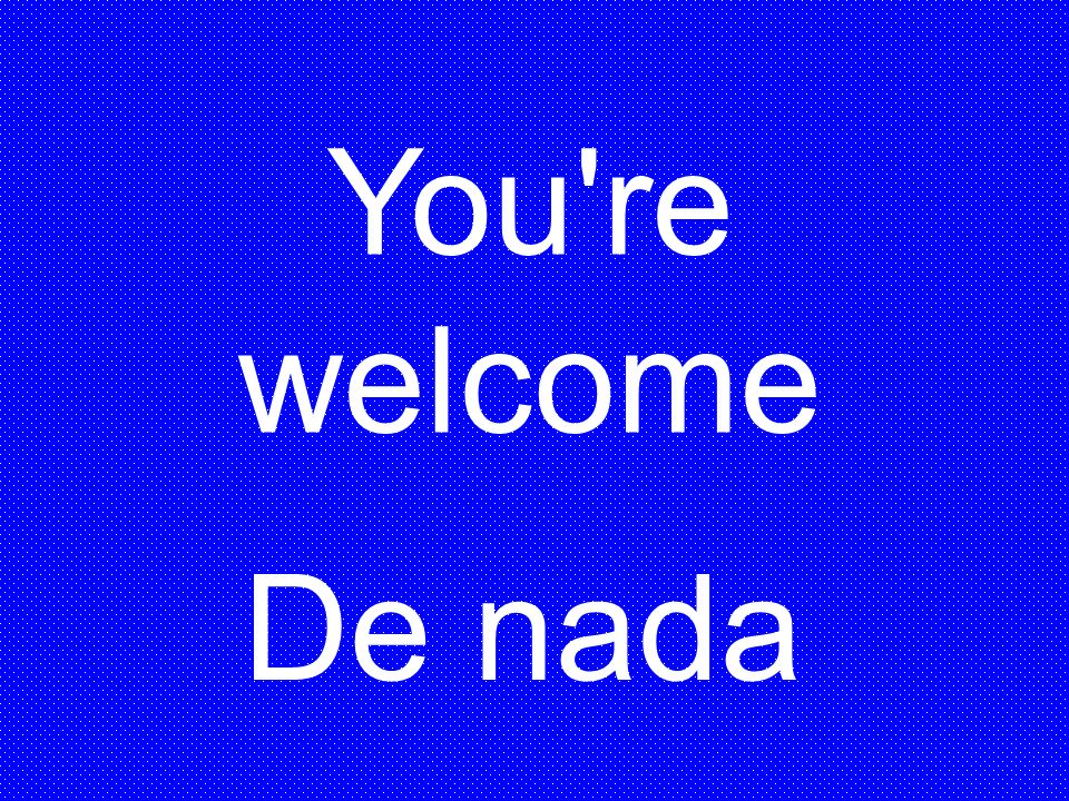 You re welcome De nada
