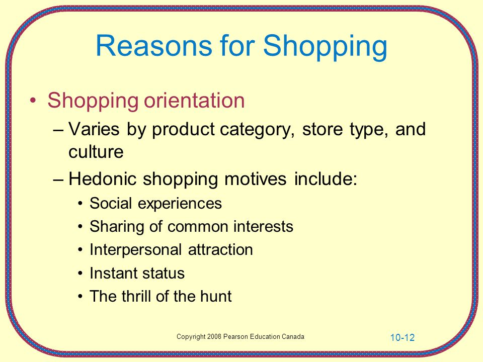 Reasons for Shopping Shopping orientation