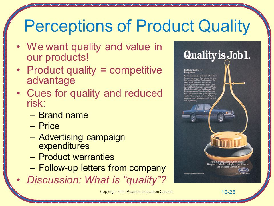 Perceptions of Product Quality