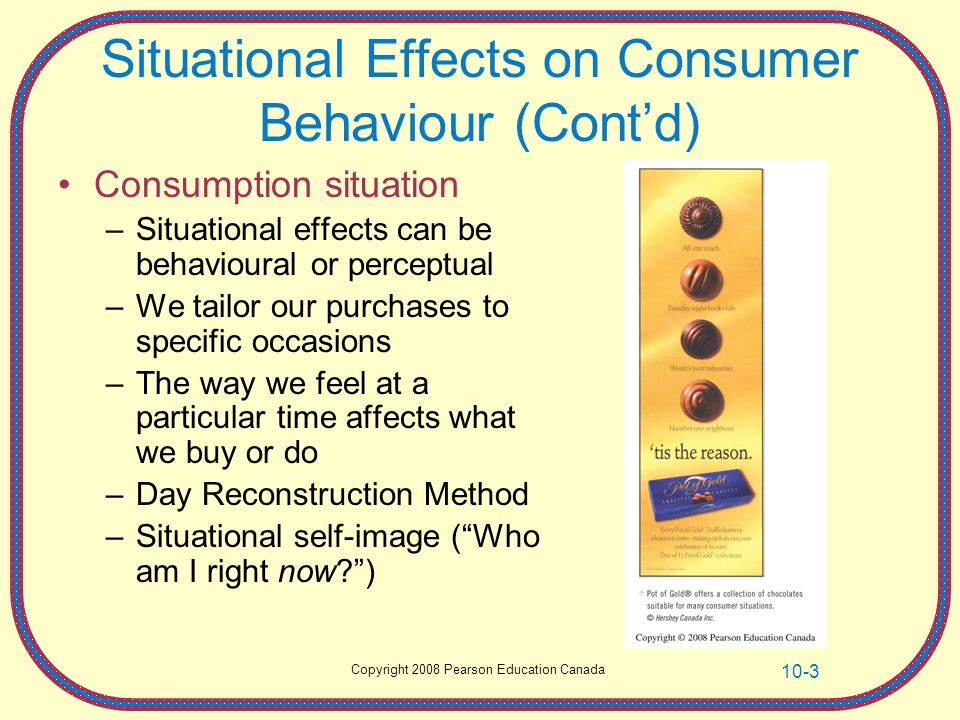 Situational Effects on Consumer Behaviour (Cont'd)
