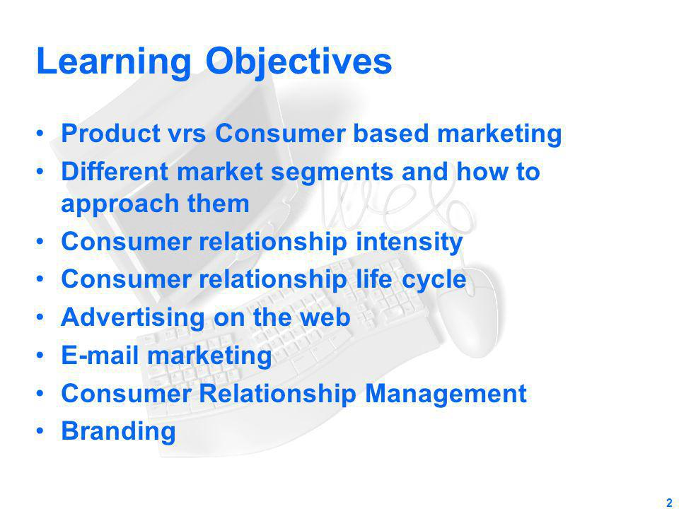 Learning Objectives Product vrs Consumer based marketing