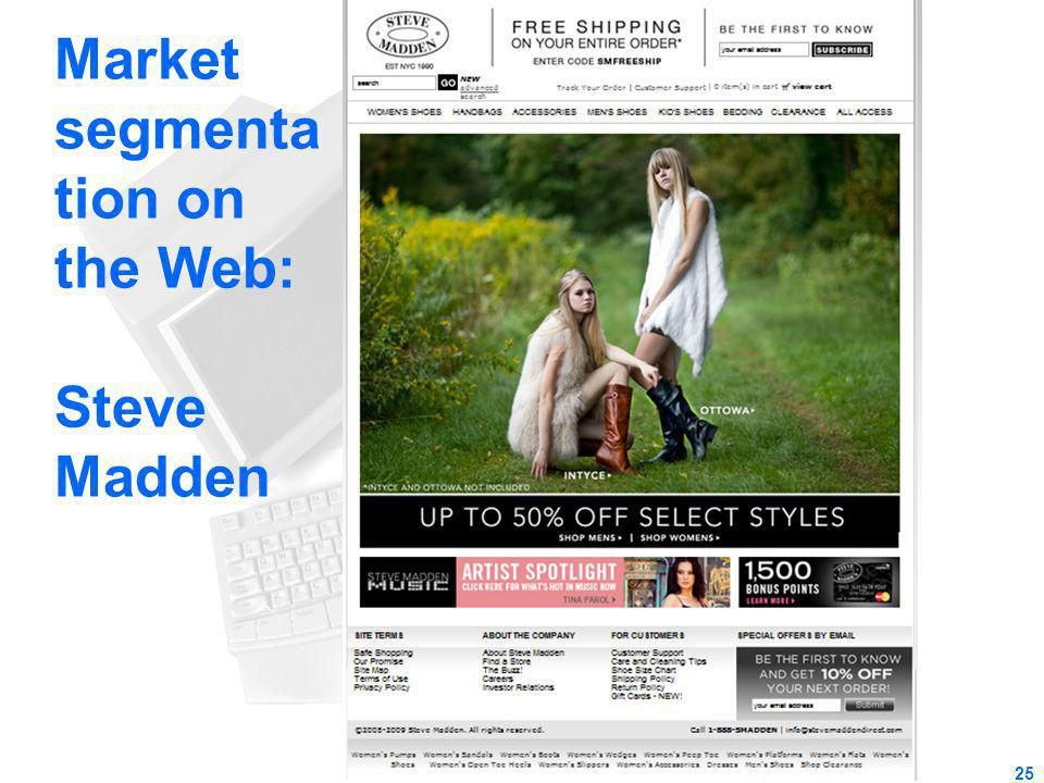 Market segmentation on the Web: Steve Madden