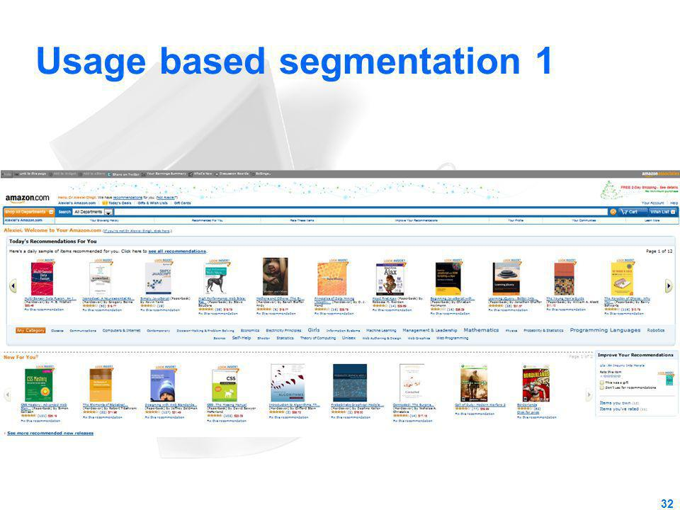 Usage based segmentation 1