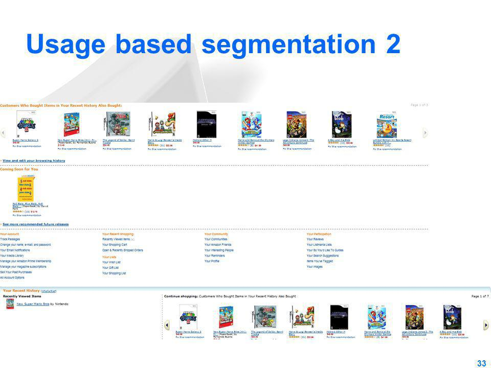 Usage based segmentation 2