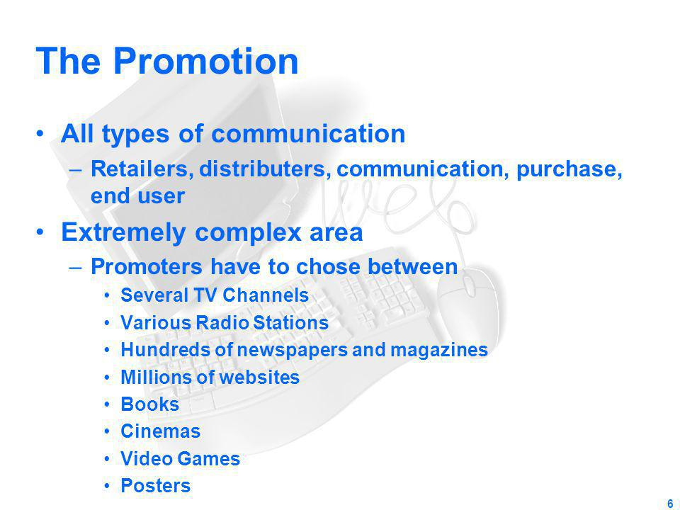The Promotion All types of communication Extremely complex area