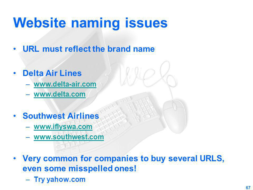 Website naming issues URL must reflect the brand name Delta Air Lines