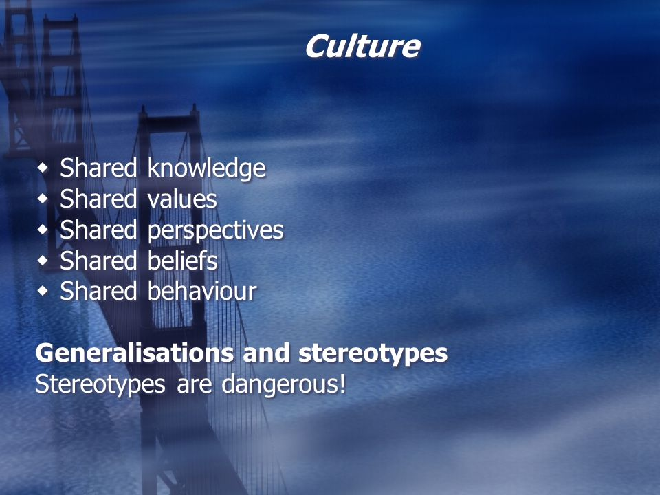 Culture Shared knowledge Shared values Shared perspectives