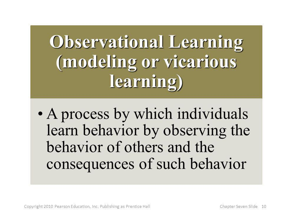 Observational Learning (modeling or vicarious learning)