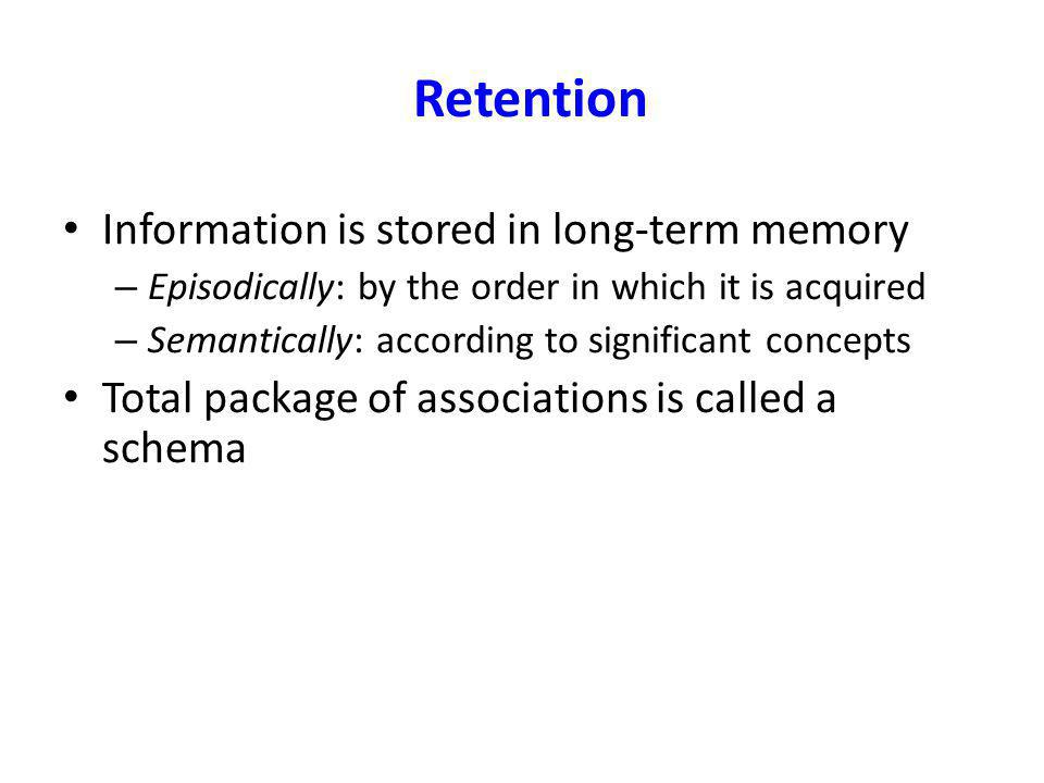 Retention Information is stored in long-term memory