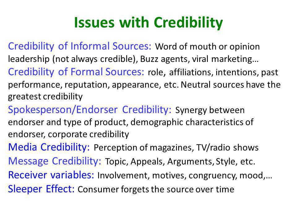 Issues with Credibility