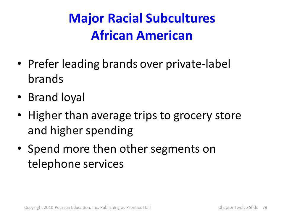Major Racial Subcultures African American