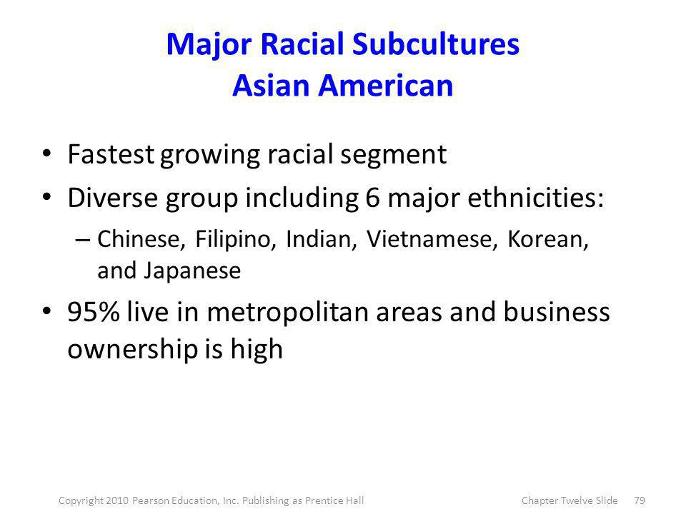 Major Racial Subcultures Asian American